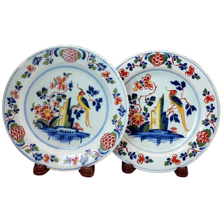 Pair Of English London Delftware Polychrome Coloured