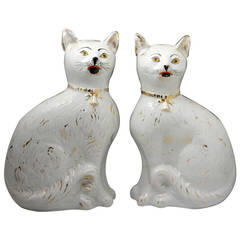 Pair of Late 19th Century Scottish Pottery Cats