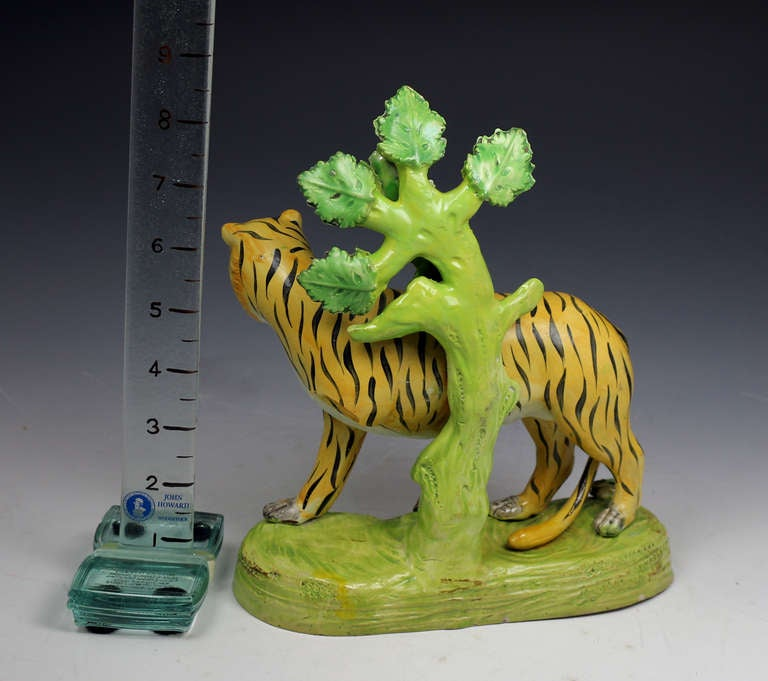 Antique Staffordshire Pottery Figure Of A Tiger At 1stdibs