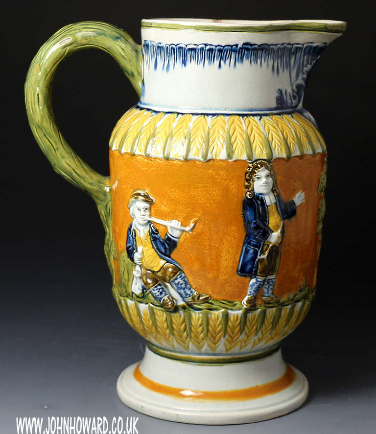 Antique English Prattware Pottery Pitcher With Relief