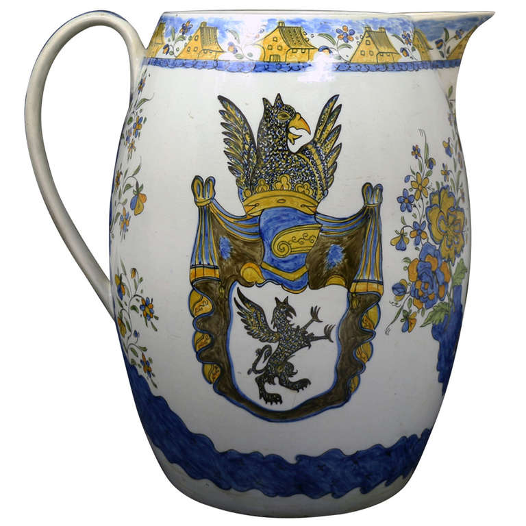Massive Size Prattware Pitcher with Amorial, Prancing Horse For Sale