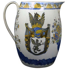 Massive Size Prattware Pitcher with Amorial, Prancing Horse
