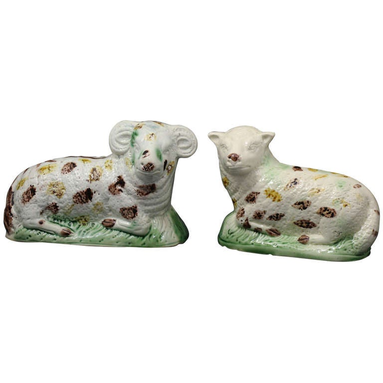 Antique Pair of Figures of Ewe and Ram, Creamware Bodied For Sale