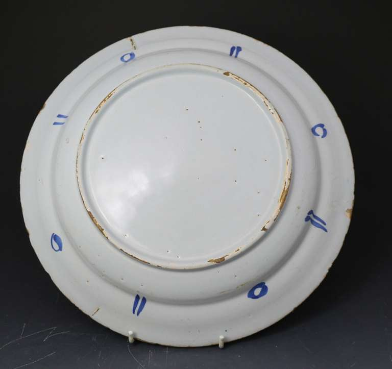 English Delftware Polychrome Decorated Charger Probably