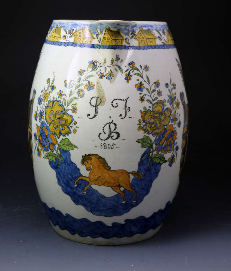 George III Massive Size Prattware Pitcher with Amorial, Prancing Horse For Sale