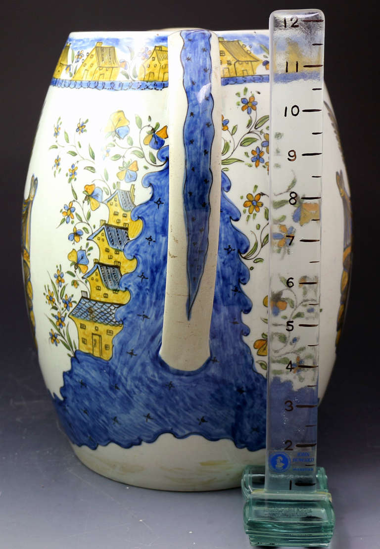 English Massive Size Prattware Pitcher with Amorial, Prancing Horse For Sale