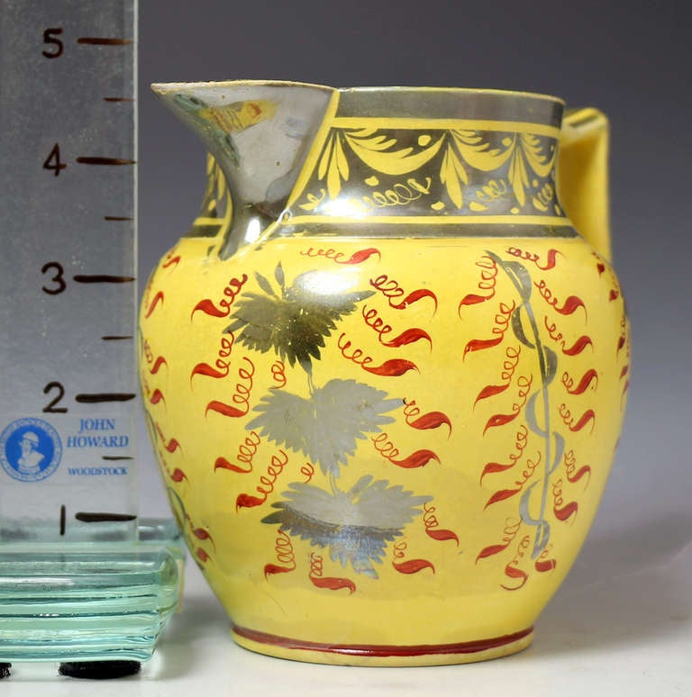English Pottery Antique Pitcher With Canary Yellow Ground