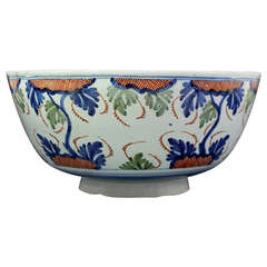 Antique Mid 18th Century English Delftware Bowl with Polychrome Decoration