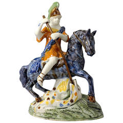English Pottery Figure of Saint George Slaying the Dragon