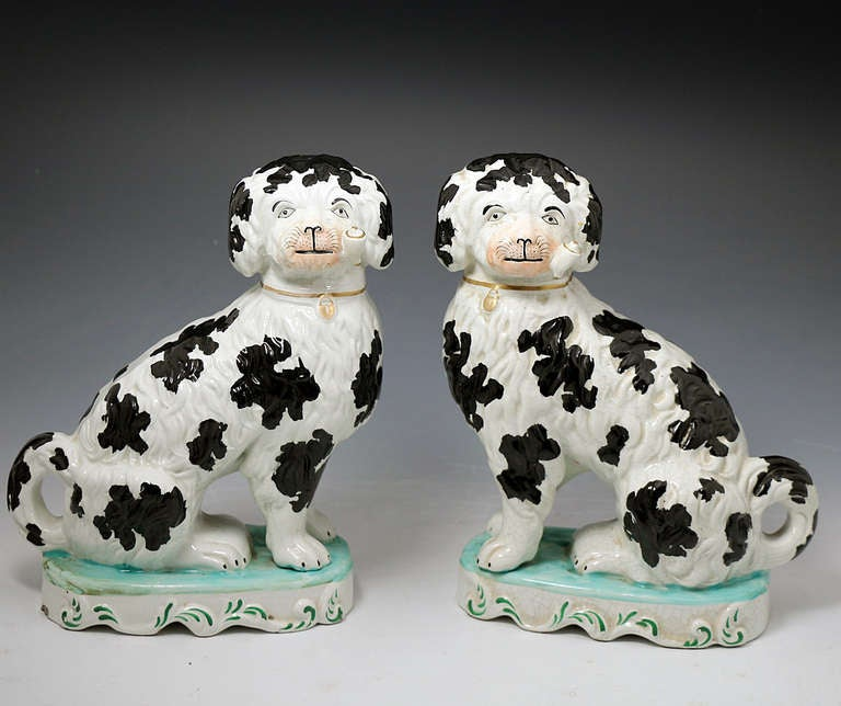 Pair Victorian Staffordshire Pottery Figures Of Dogs