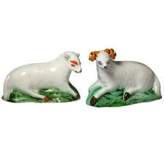 Antique English Pottery Pair of Figures Ram and Ewe, Yorkshire Pottery