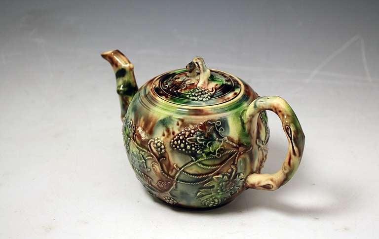 Antique English Staffordshire Whieldon Type Pottery Teapot