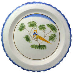 Antique Pottery Pearlware Charger with Peafowl, English, Early 19th Century