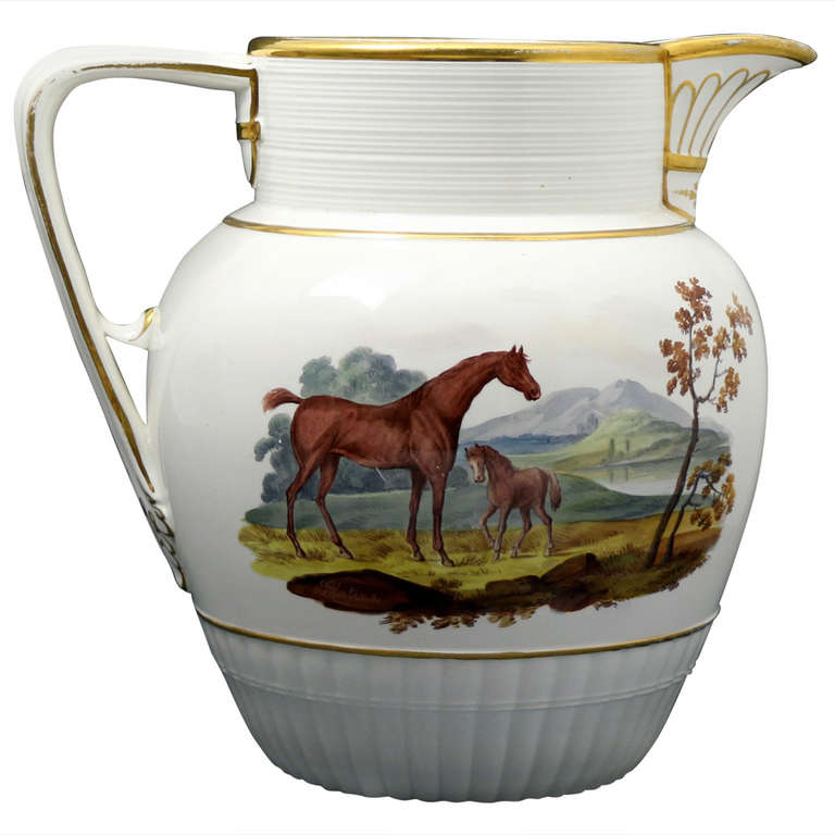 Antique Pitcher With Hand Painted Scenes Of Horse And Foal