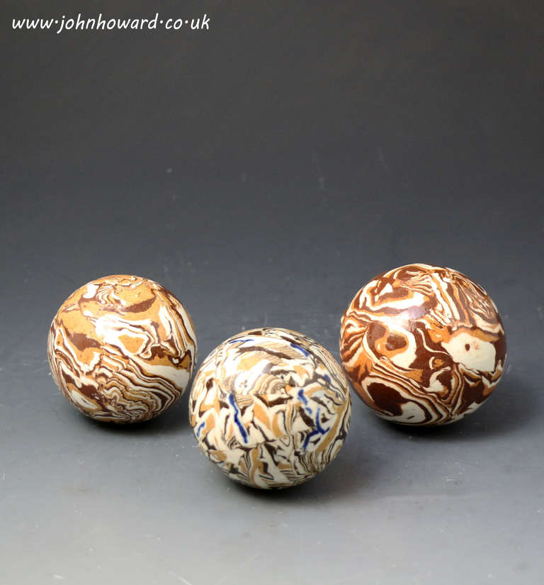 Antique English Pottery Agateware Variegated Clay Balls