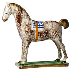 Pottery Figure of a Horse Standing on a Base, North East England
