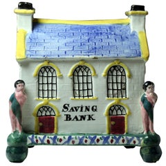 """Antique Yorkshire Pottery """"Saving Bank"""" in the Form of the Chapel at Mexborough"""