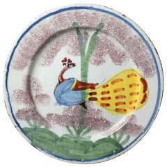 Bristol Pottery Delftware Plate Decorated in Polychrome with Peacock in a Tree