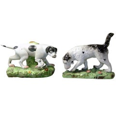 Antique Staffordshire Pottery Pair of Pointer and Setter Sporting Dogs