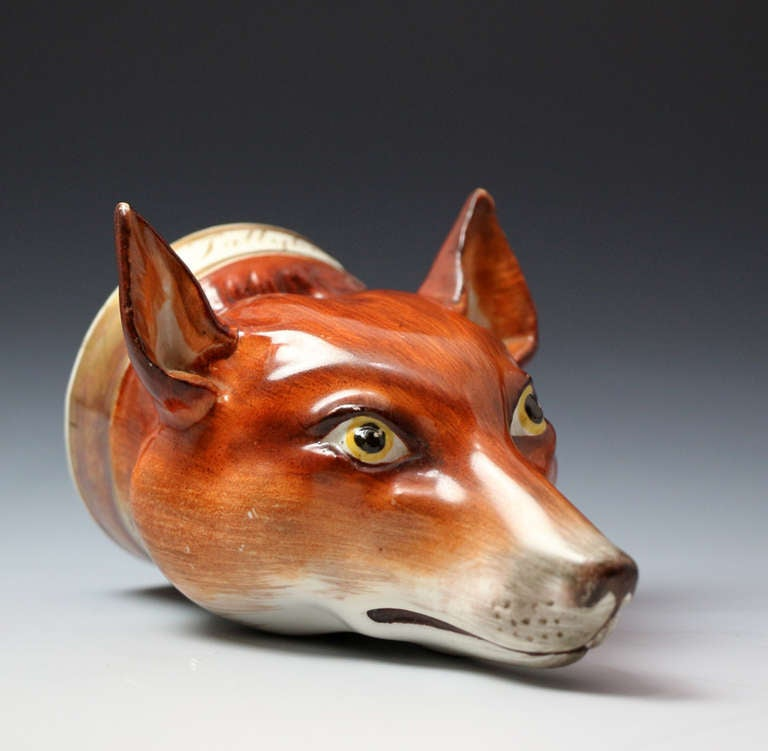 Antique Staffordshire Figurehead Of Fox Stirrup Cup Tally Ho