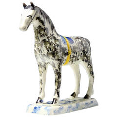 Antique English Pottery Figure of a Standing Horse, circa 1800