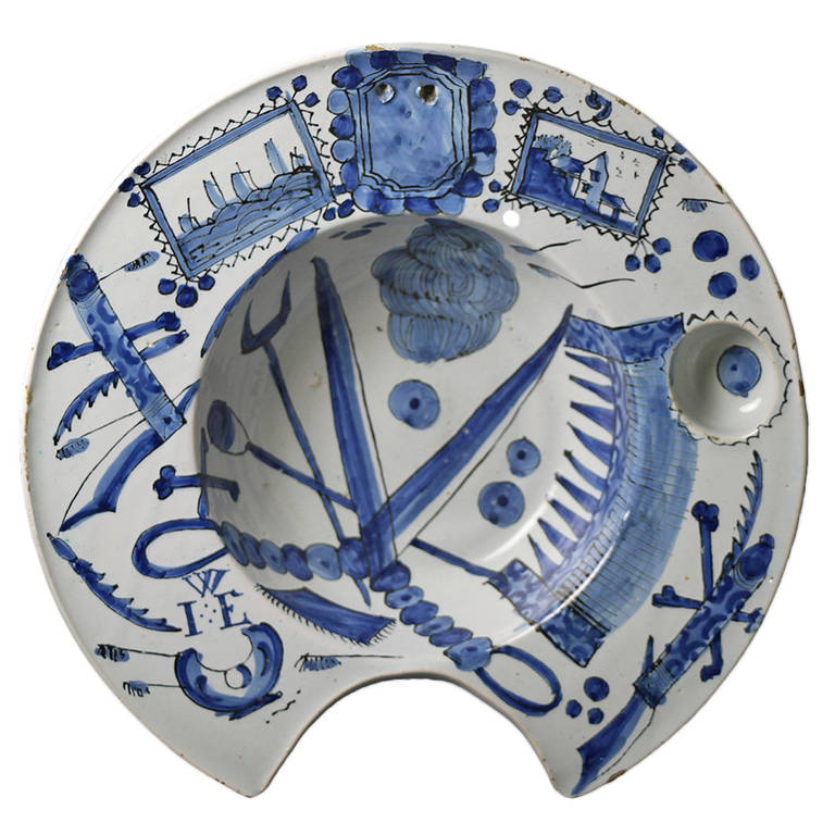 Antique Early English Delftware Pottery Shaving Bowl At