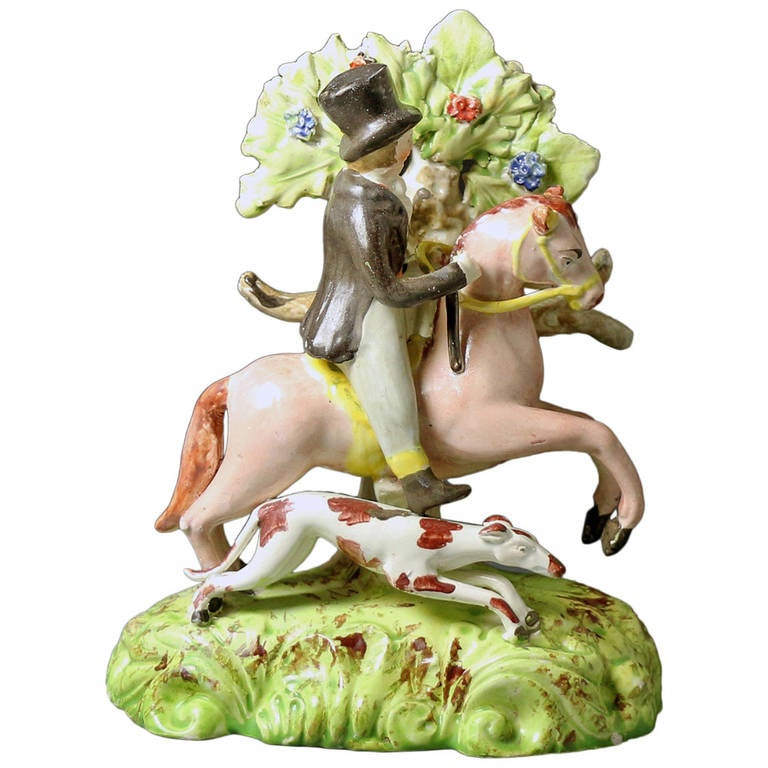 Staffordshire Pottery Figure of a Male Equestrian Antique Period 1