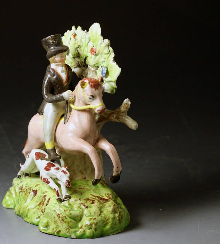 Staffordshire Pottery Figure of a Male Equestrian Antique Period 3
