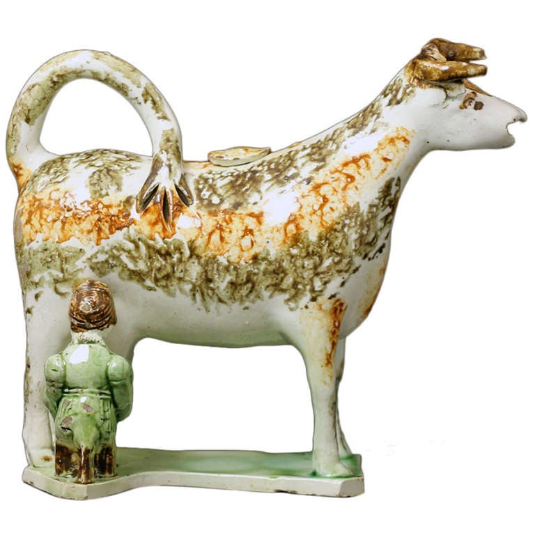 English Pottery Cow Creamer with Figure of a Milk Maid Antique
