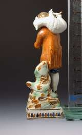 "Antique English Pottery Prattware Figure of ""Lost Sheep Found"" image 4"