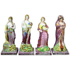 Set of the Four Seasons Figures in Pink Luster