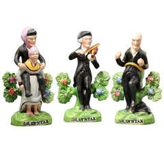 Antique English Staffordshire Pottery Figures Trio of Doctor Syntax, circa 1820