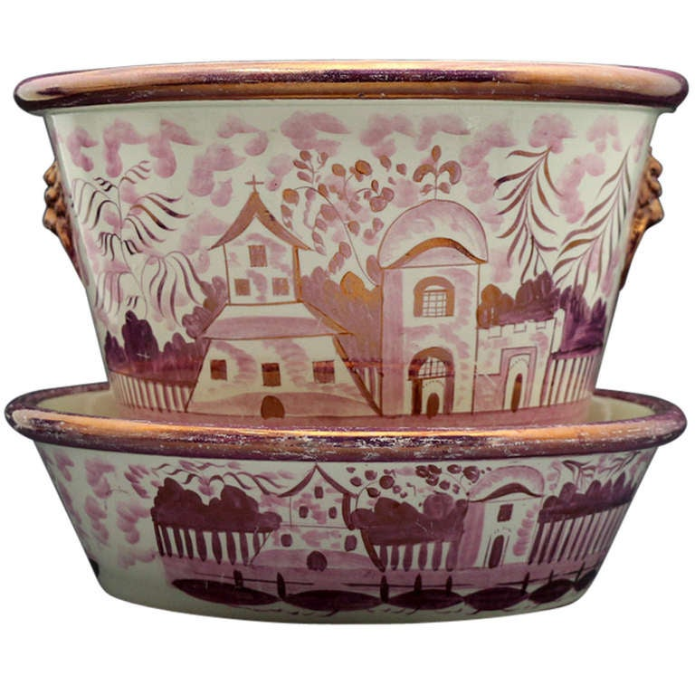 Pink Luster English Pottery Jardiniere with Original Stand Tray circa 1820 For Sale