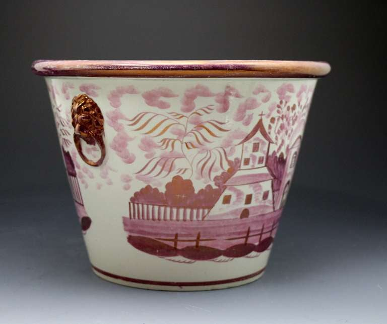Pink Luster English Pottery Jardiniere with Original Stand Tray circa 1820 In Excellent Condition For Sale In Woodstock, GB