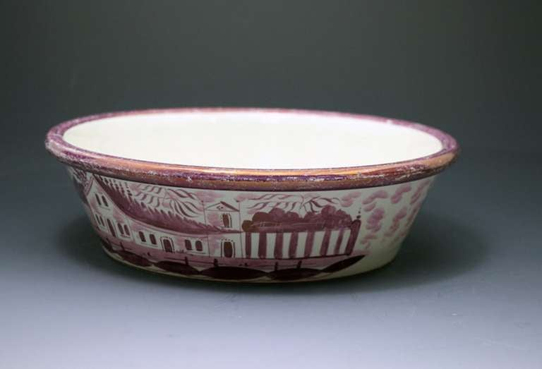 Pink Luster English Pottery Jardiniere with Original Stand Tray circa 1820 For Sale 1