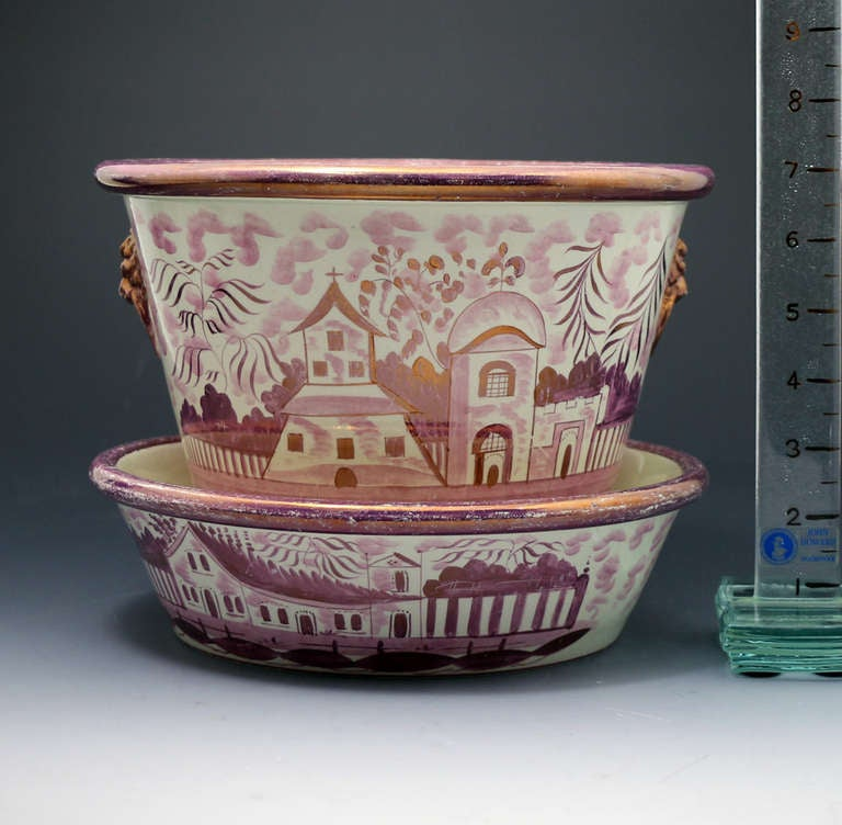 19th Century Pink Luster English Pottery Jardiniere with Original Stand Tray circa 1820 For Sale