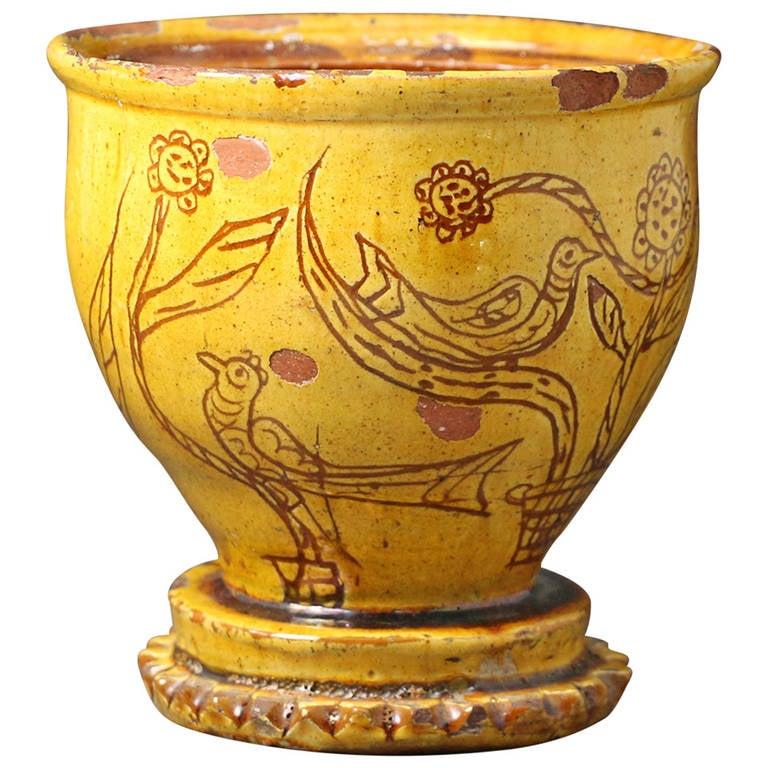 Naive Earthenware Sgraffito Decorated Pot