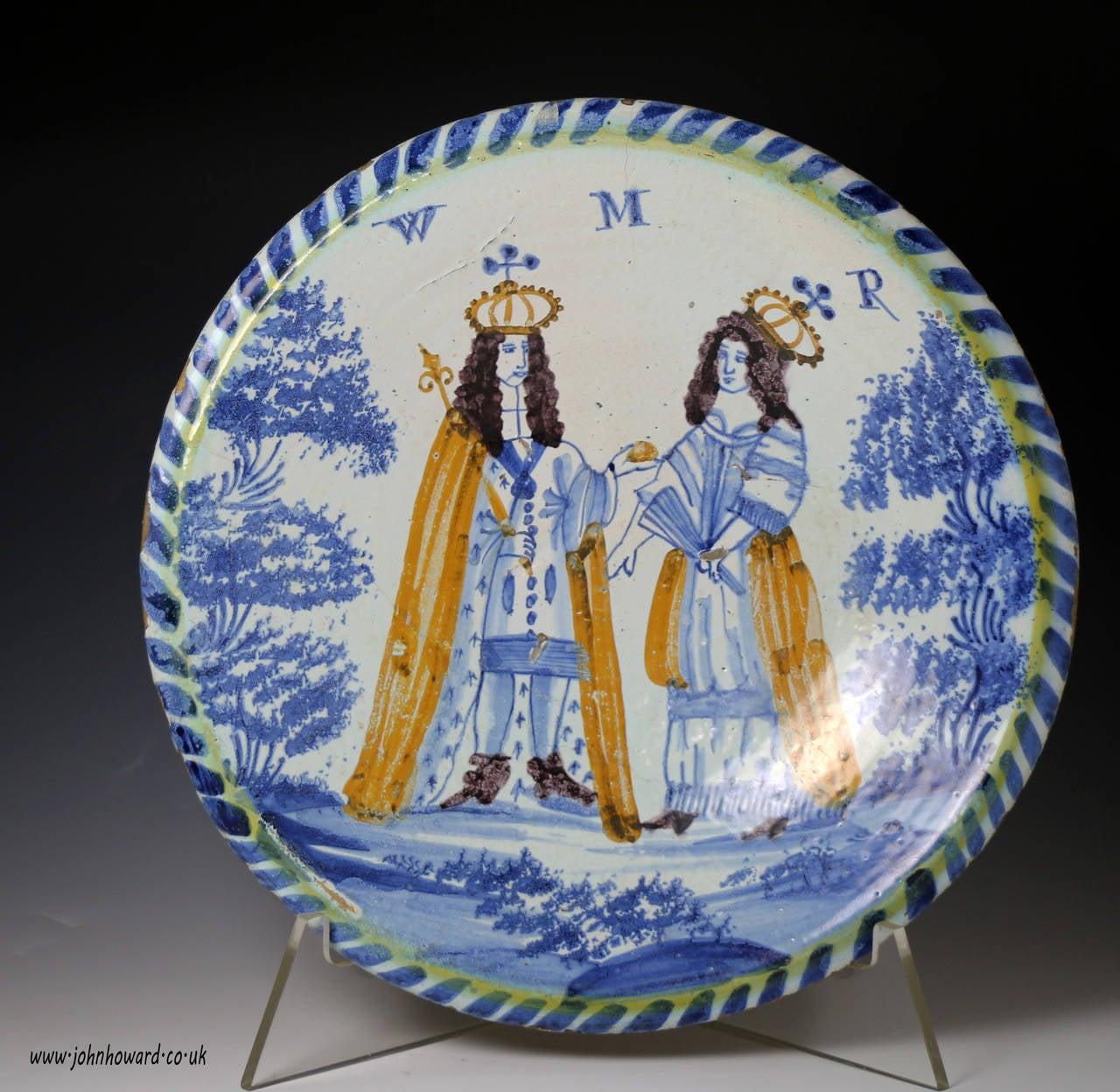 Englsih Delftware Pottery Blue Dash Charger Of King