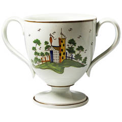 Antique English pottery Prattware loving cup c1810