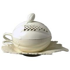 Antique 18th Century English Creamware Pottery Melon Tureen