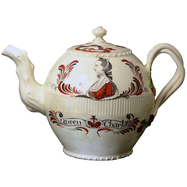 antique english creamware pottery teapot with a commemorative image of queen charlotte at 1stdibs. Black Bedroom Furniture Sets. Home Design Ideas