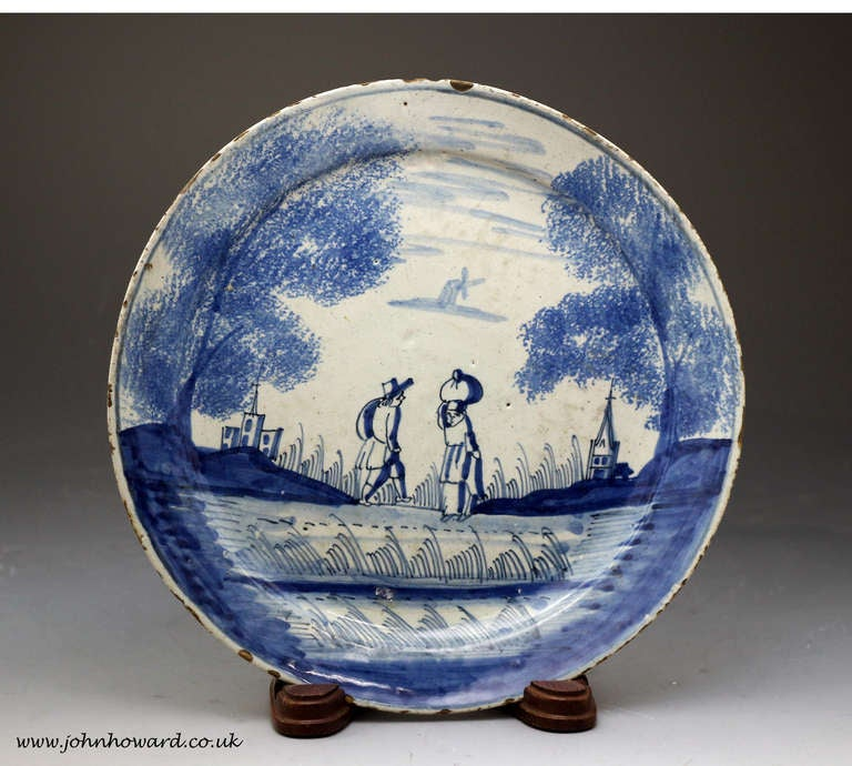 Antique English Delft Plate In Blue And White London