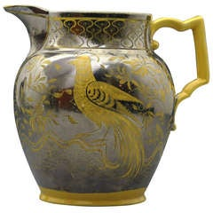 Antique Canary Yellow and Silver Luster Pottery Pitcher English Early 19th Century