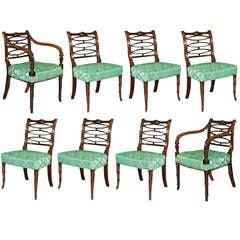 Set Of 8 Sheraton Mahogany Chairs C.1790