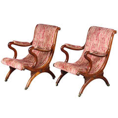 Antique Pair of X-Frame Chairs