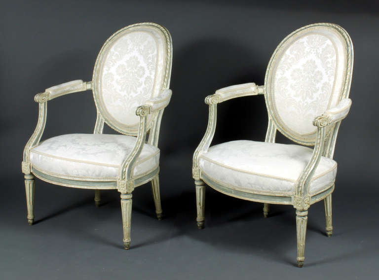 A good set of four French painted chairs made in the Louis XVI style probably in Alsace in the 1830s. They have been reupholstered in Paris recently. The paintwork is original and they are a large, generous model