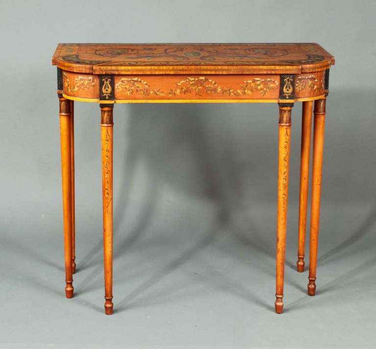 An Attractive Satinwood And Faux Painted Satinwood Pier Table In The Manner  Of Seddon, Son