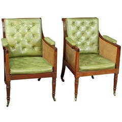 Antique Pair of Regency Mahogany Bergere Chairs