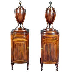 Pair Of Knife Urns On Pedestals
