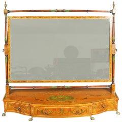 Antique Satinwood Painted Toilet Mirror